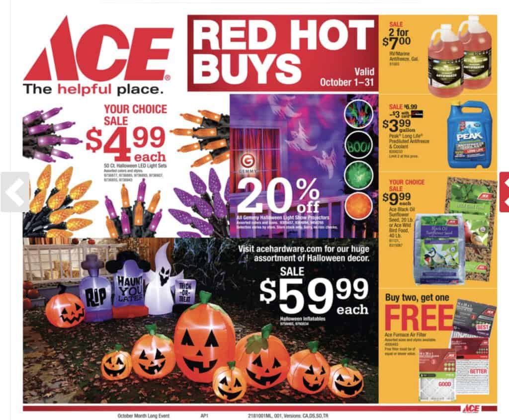 Ace Hardware October Sales