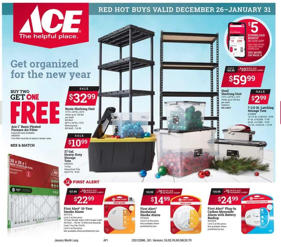 Ace hardward shelving and smoker detectors